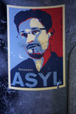 Edward Snowden. CIRCA MAY 2014 - BERLIN: an image of Edward Snowden on a sticker demanding granting him asylum in Germany, Berlin stock photo