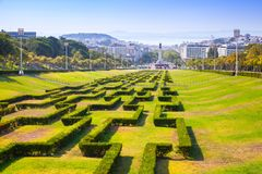 Edward VII sloped scenic park in Lisbon. Edward VII. Sloped, scenic park featuring tree-lined walking paths. Lisbon, Portugal Stock Photos