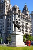 Edward VII statue and Liver Building. Royalty Free Stock Photos