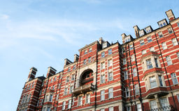 Edwardian apartments, London. A low angle view of a block of Edwardian flats in the upmarket Kensington district of West London Stock Images