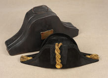 Edwardian cocked hat. An Edwardian period cocked hat for an officer of the Royal Navy. With tin transport box Stock Photo