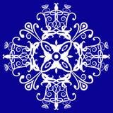 Edwardian design. Floral filigree and spiral pattern in white against a royal blue background, use as a logo, symbol, motif, postcard, label, clip art, tile or vector illustration