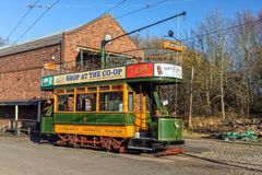 Edwardian Double Decker Tram, Black Country Living Museum. An Edwardian 1909 Double Decker Tramcar in the  livery of the old Wolverhampton Corporation Tramways Royalty Free Stock Photos