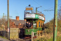 1909 Double Decker Tramcar, Black Country Living Museum. An Edwardian 1909 Double Decker Tramcar in the  livery of the old Wolverhampton Corporation Tramways Royalty Free Stock Photography