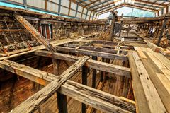 The `Edwin Fox`, an old wrecked ship, undergoing preservation stock photography