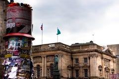 Edynburg kraniec 2018 Na Milowym plakacie zakrywał filary zdjęcie stock
