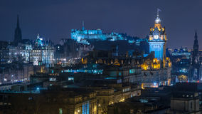Edynburg linia horyzontu przy nocą Obrazy Royalty Free