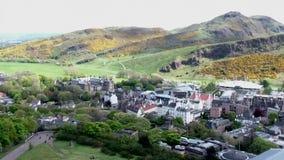 Edynburg miasta Arthur historyczny siedzenie od Calton wzgórza zabytków anteny strzału zdjęcie wideo