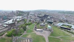 Edynburg miasta Calton wzgórza zabytków anteny historyczny strzał zbiory wideo