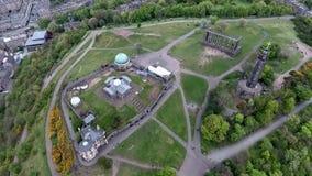 Edynburg miasta Calton wzgórza zabytków anteny historyczny strzał zdjęcie wideo