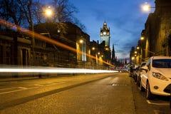Edynburg podczas nighttime obraz royalty free
