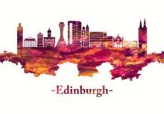 Edynburg Szkocja linia horyzontu w czerwieni ilustracja wektor