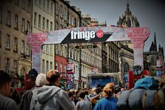 Edynburg Szkocja, Zjednoczone Królestwo, Sierpień,/- 14 2018: Krana festiwal jest wielkim sztuki festiwalem w świacie obrazy royalty free