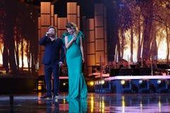 Edyta Gorniak na scenie w Opolskim Polskim Pieśniowym festiwalu Fotografia Royalty Free
