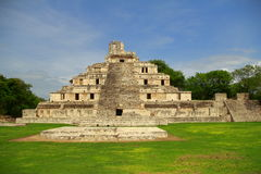 Edzna II. Principal building of the ancient mayan city of Edzna, in campeche, mexico royalty free stock images