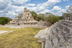 Edzna mayan ruins in Campeche Mexico. April 20, 2014 Campeche, Mexico: ancient mayan structures in the grand acropolis at the Edzna archaeological park royalty free stock image