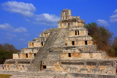 Edzna pyramid. Principal building of the ancient mayan city of Edzna, in campeche, mexico Stock Photo