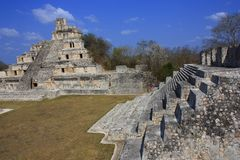 Edzna pyramids. Principal pyramids of the ancient mayan city of Edzna, in campeche, mexico stock photos