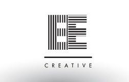 EE E E Black and White Lines Letter Logo Design. Stock Image