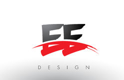 EE E E Brush Logo Letters with Red and Black Swoosh Brush Front Royalty Free Stock Image