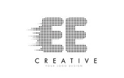 EE E E Letter Logo with Black Dots and Trails. Stock Image
