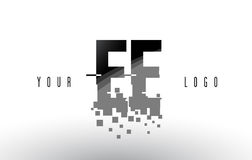 EE E E Pixel Letter Logo with Digital Shattered Black Squares Royalty Free Stock Images