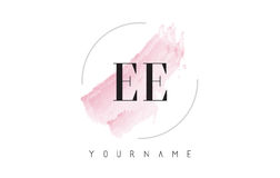 EE E E Watercolor Letter Logo Design with Circular Brush Pattern Royalty Free Stock Photo
