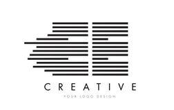EE E E Zebra Letter Logo Design with Black and White Stripes Royalty Free Stock Image