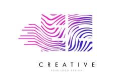 EE E E Zebra Lines Letter Logo Design with Magenta Colors Stock Photos