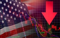 EE.UU. Flecha roja del precio de la crisis de la acción del mercado de América abajo de la bandera de América los E.E.U.U. de la  libre illustration