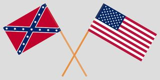 EE.UU. Norte y sur Unión y banderas confederadas cruzadas Vector stock de ilustración