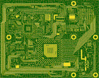 Eectronic circuit green background Royalty Free Stock Images