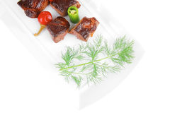 Eef meat goulash over white plate isolated on white background Royalty Free Stock Photo