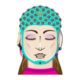 EEG device Mind reading scanning Brain signals Female. Scientific device new technology royalty free illustration