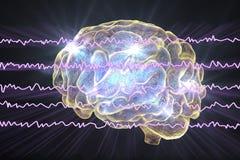 EEG Electroencephalogram, brain wave in awake state with mental activity. 3D illustration vector illustration