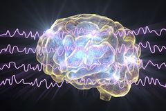 EEG Electroencephalogram, brain wave in awake state during rest. 3D illustration Stock Photography