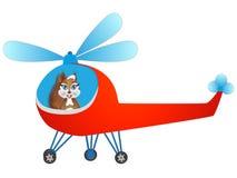 Eekhoorn die op een helikopter vliegen royalty-vrije illustratie