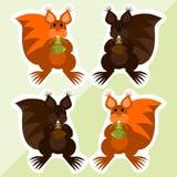 Eekhoorn met hazelnoot - leuke kleurrijke stickers Stock Afbeeldingen
