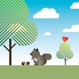 Eekhoorn met twee hazelnoten, bomen en een vogel Royalty-vrije Stock Foto's
