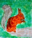 Eekhoorn, waterverfillustratie Stock Fotografie