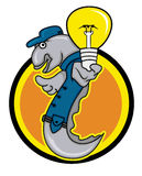 Eel Electric Technician Holding Light Bulb with Circle Background. Illustration of an eel animal character as an electric technician holding light bulb with Royalty Free Stock Photos