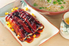 Eel fish and Noodle Royalty Free Stock Images