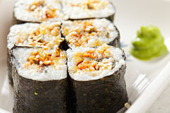 Eel maki sushi closeup Royalty Free Stock Photo