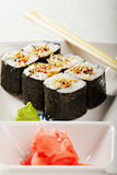 Eel maki sushi set Royalty Free Stock Images