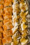 Eel and philadelphia rolls with yellow caviar Stock Image