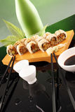 Eel roll and sake Stock Photography