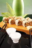 Eel roll and sake Stock Image