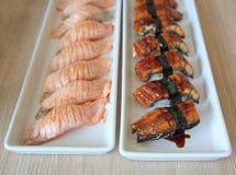 Eel and Salmon sushi Rolls Stock Photos