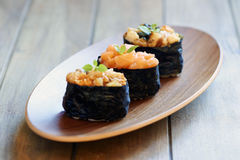 Eel and salmon sushi Royalty Free Stock Photography