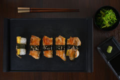 Eel sushi. Japanese Eel fish Sushi platter top view royalty free stock image